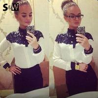 New 2014 Fashion Chic Chiffon Blouse Women Lace Chiffon Patchwork Clothing Sexy Elegant Long Sleeve Shirt Women Blouse