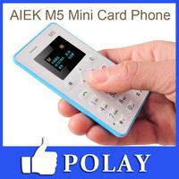 4.8mm Ultra Thin AIEK M5 V5 card mobile phone mini pocket students children the most thin card phone english/ russian keyboard