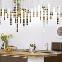 Home Decoration mirror decorative wall sticker 4x4CM square combination M size 3D DIY wall art acrylic sticker