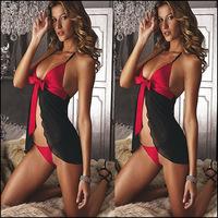 Womens Sexy Sleepwear Black & Red Sexy Erotic Lingerie Flyaway Mini Dress Babydoll Fantasias Feminina Night Gowns Underwear