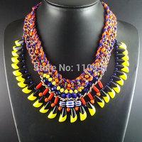 Handmade Yellow New Unique Big Bib Chunky Choker Ethnic Chain Jewelry Statement Necklaces For Women