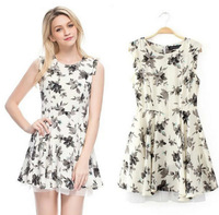 FS2736 S/M/L   Fashion Design Good Quality High Waist Sleeveless Printing Brief Dress