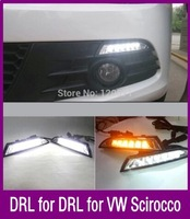 Free shipping Special LED DRL For VW Volkswagen Scirocco,With Yellow turning function Scirocco LED DRL