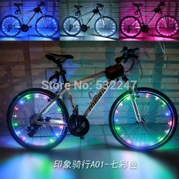 10pcs DHL Free Shipping Bicycle Cycling Bike Wheel Tire Valve 1.9M Waterproof Led Flash Spoke Light Colorful accessories(China (Mainland))