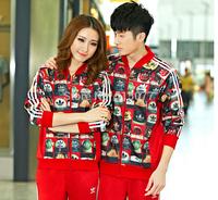 New 2014 Luxury Brand women men's Long sleeves sport suit Tracksuit Set Sport Package /coat and pants Set