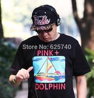 pink dolphin tshirts sail blue sea waves hip hopt-shirt fashion cool rock tees and tops short sleeve summer skate streetwear