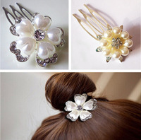 New Alloy White Pearl Flower with CZ Zicron Mini Hair Comb Clips Hairpins For Women Hair Accessories