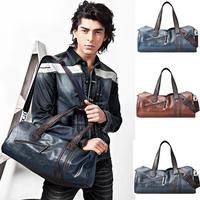 Free shipping gym 2014 Men's FASHION barrel bag shoulder oblique cross PU messenger bag man fashionable cylinder sports gym bag