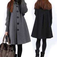 2014 Autumn  Plus size Women's Knitted Reglan Sleeve Casual Woolen coat Women cloak Outerwear Maternity Loose Mantle Jackets