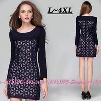 L-4XL Brand Elegant Geometry Embroidery Organza Dress Long Sleeve Dresses 2014 Fall Fashion for Women Plus Size Clothing 3280