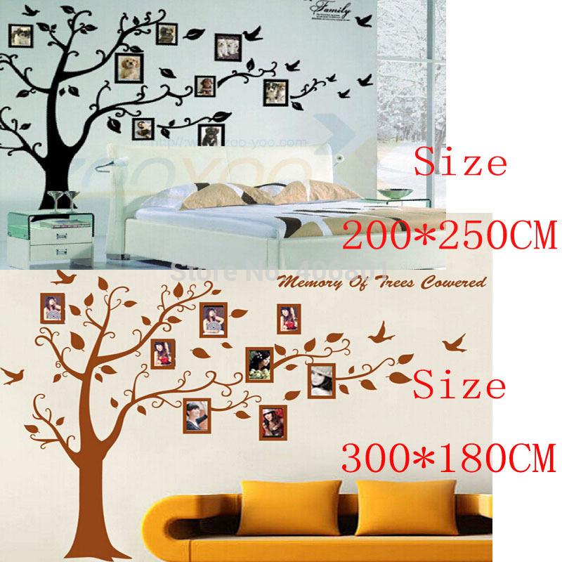Large 300 180cm 200 250cm 79 99 39 39 black brown 3d diy for Diy family tree wall mural