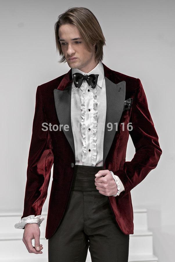 Custom made 2014 bourgogne smoking/costumes de mariage pour les hommes/de bal. costume./marié. d'usure, 3 pièces costumes,( jacket+pants+bowtie) cms'il- 7231