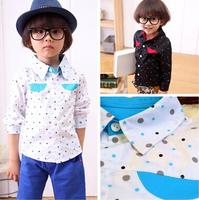 Fashion Baby Boys Polka Dot Long Sleeve Blouse Outwear Korean Kids Clothes Shirt