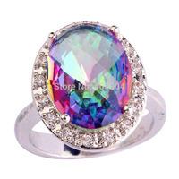 Wholesale Noble Fashion 925 Silver Oval Cut Rainbow Topaz & White Topaz 925 Silver Ring Size 7 8 9 10