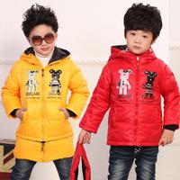 2014 Winter White Duck Down Boys Coat Jacket Medium-long Detachable Children's Down Coat Cartoon Thickening Children Outerwear