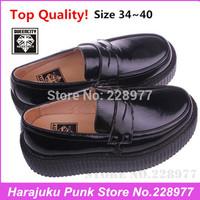 EU34~40 New 2014 Branded Super Quality !! Black Fashion Creepers Platform Women Street Punk Shoes, Queencity Slip-on Creeper