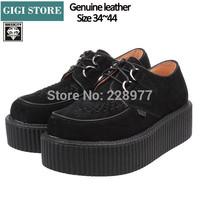 EUR 34~44 Genuine leather HARAJUKU Style ViVi New 2014 Women Round Toe Creepers Platform Brand Fashion Creeper Shoes Men Women