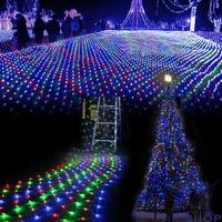 US110-240V 200 LED Colorful Net Mesh Decorative Fairy Christmas Light Wedding Party Twinkle Light Lamp Luzinhas De Natal T1258