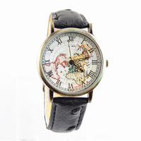 Sales promotion New Arrivals World Map quartz Watch Ostrich grain Genuine Leather band Unisex Military Watches free shipping
