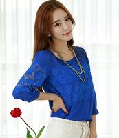 Free Shipping Large Size Women's 2014 Autumn New Sweet Lace Chiffon Shirt Blouse,Women Blouse,Shirt Women,S M L XL 2XL 3XL 4XL