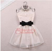 2014 Free Bow Belt Spring Summer New Fashion Sweet Pearl Diamond Lapel Waist Sleeveless Tank Vest Dress Gauze Tutu