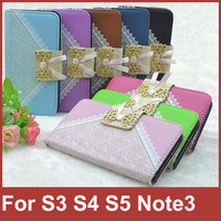 Handbag Wallet Style Card Holder Lace Bowknot Bow Leather Case Chain For Samsung Galaxy Note3 N9000 S5 i9600 S4 i9500 S3 i9300