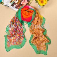 2014 new Promotion Plaid Printed Letter Women Brand Silk Scarf Long Winter Warm Birthdays fashion Gift Foulard