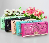 Retail&Wholesale Multi Colors Fashion New Crown Leather Clutch Long Hollow-out Women Wallets Purse with Free Shipping