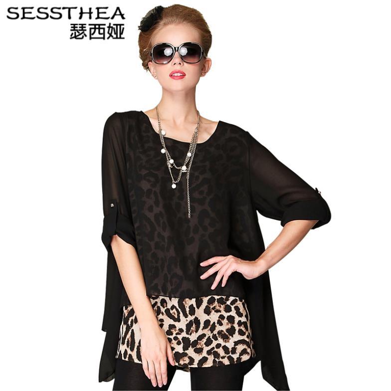 Women summer dress 2014 new fashion casual party patchwork leopard sexy plus size vintage club novelty mini chiffon dress 0045(China (Mainland))