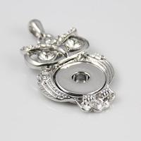 6pcs/lot mix shape fashion Silver white rhinestone animal owl Snap Pendant button Buckle Clasp For Making Snap pendant necklace