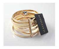 JZ2232 JZ2232 Foreign trade act the role of article 21 brand fashion golden | multicolor multilayer bracelet 2pcs/lot