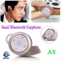 Mini A8 Snail Bluetooth In-ear Earphone Cute Music Headphone Headset for IOS iPhone iPad Sumsang Nokia MOTO HTC Android Phone
