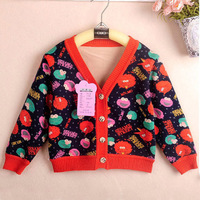 KNB 2014 Newest Cartoon Children Outerwear Full Sleeve V-neck Girls Cardigan Coats For Girls Winter Kids Jackets Coat ACT104