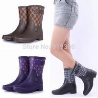 Fashion Plaid Style Women Short Rubber Rain Boots Flat Heels Mid-calf Waterproof Water Shoes Black Purple Brown Rainboots #TS83