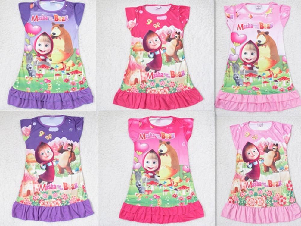 Wholesale Masha and Bear cartoon pattern spring-summer-autumn girl short sleeve nightgown sleepwear kids girls night dress(China (Mainland))