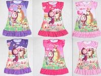 Wholesale Masha and Bear cartoon pattern spring-summer-autumn girl short sleeve nightgown sleepwear kids girls night dress