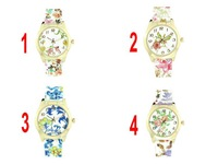 Hot Selling Flower Print Silicone Quartz Watches Women Dress Wristwatch Promotional Gift 4 patterns 200pcs