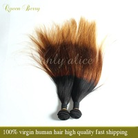 7a GRADE Queen berry 3pcs or 4pcs lot eurasian three tone ombre brazilia virgin hair straight BEST quality free shipping