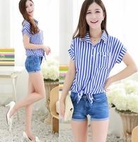 2014 New fashion Summer women Tie Stripe Print Short Sleeve Chiffion T shirt Vintage Casual Brand Desigual Tops Plus Size nz188