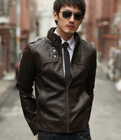 New 2014 autumn men motorcycle PU leather jacket casual men outerwear slim men's coat C046