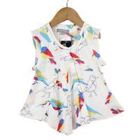 2014 100% cotton new style girl shirt New Designer Girl Sleeveless Shirt woodpecker printing free shipping