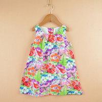 Wholesale 6pcs/lot Flower Painting girl dresses new fashion 100% cotton baby girl dress floral dresses children clothing