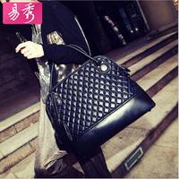 Eshow Black Brown Plaid PU Leather Women Handbag Tote Bag BFK222
