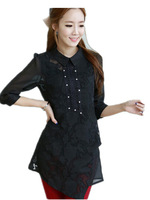 Free Shipping Auutmn Women Korean fashion  hand-beaded three-quarter sleeves shirts,blouse women plus size,M-4XL BLACK/WHITE