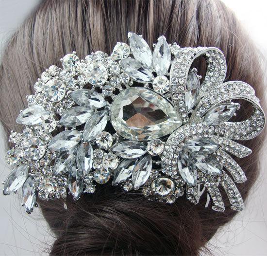 Bridal Hair Accessories Flower Bouquet Clear Rhinestone Crystal Wedding Bridal Flower Jewelry(China (Mainland))