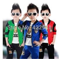 Free shipping 2014 Autumn new Children's clothing set jacket+T shirt +pant fashion boys girls clothes brand kids set retail