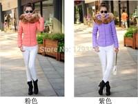 Women jacket fur collar hooded cotton jacket women short thin coat plus M-3XL2014 autumn and winter sy069