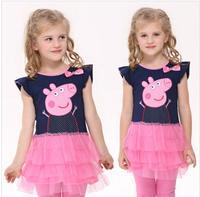 Promotion 2014 summer new  children clothing children's Peppa pig peppa pig girls short-sleeved dress Cake Dresses