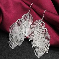 214 925 Silver Earring 2013 fashion jewelry earrings Hanging light leaves earrings