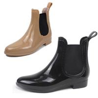 Wholesale British PVC Rain Boot Ankle Short Water Shoes Women Rainboots Black Beige Rubber Boots Point Toe New Boots